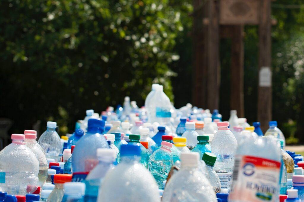 plastic bottles of all sizes in line