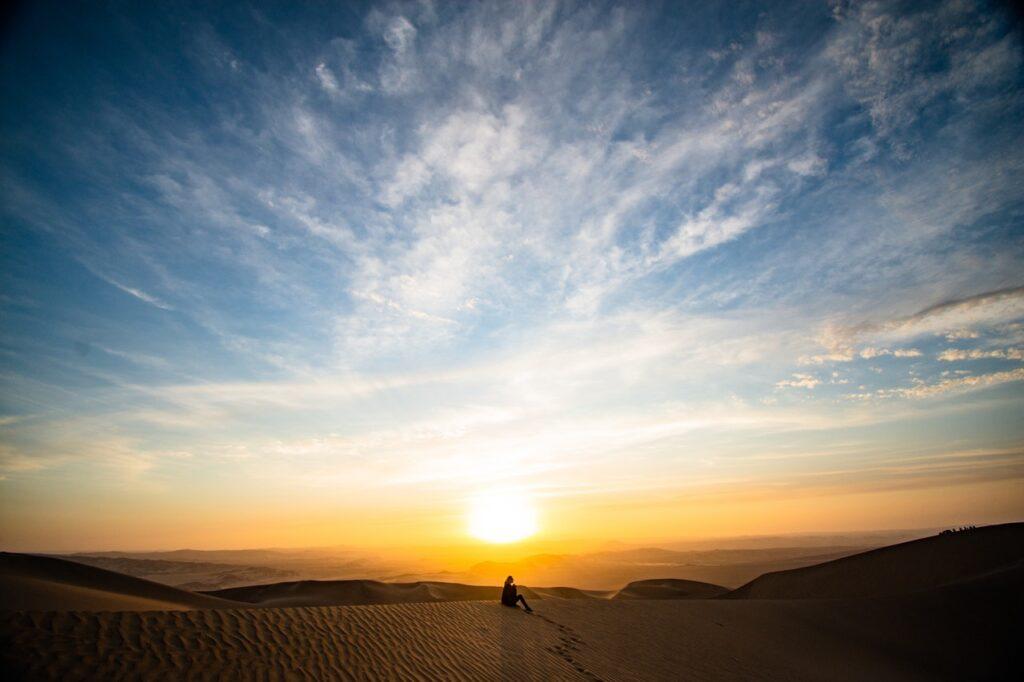 sunrise in the ica desert, peru
